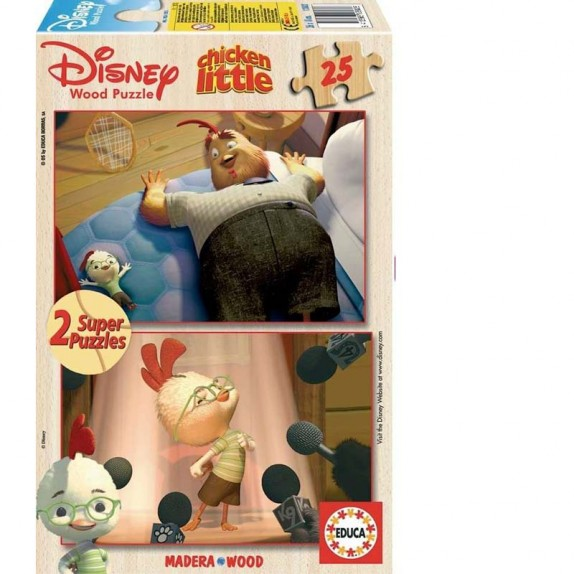 PUZZLE MADERA 2X25 CHICKEN LITTLE